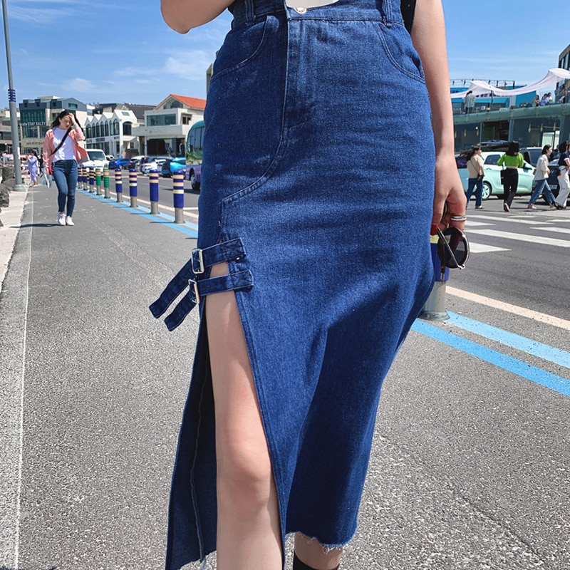 CMAZ 2021 Summer Woman Trendy Retro Washed Irregular Female High Waist Solid Skirts Elastic Bodycon