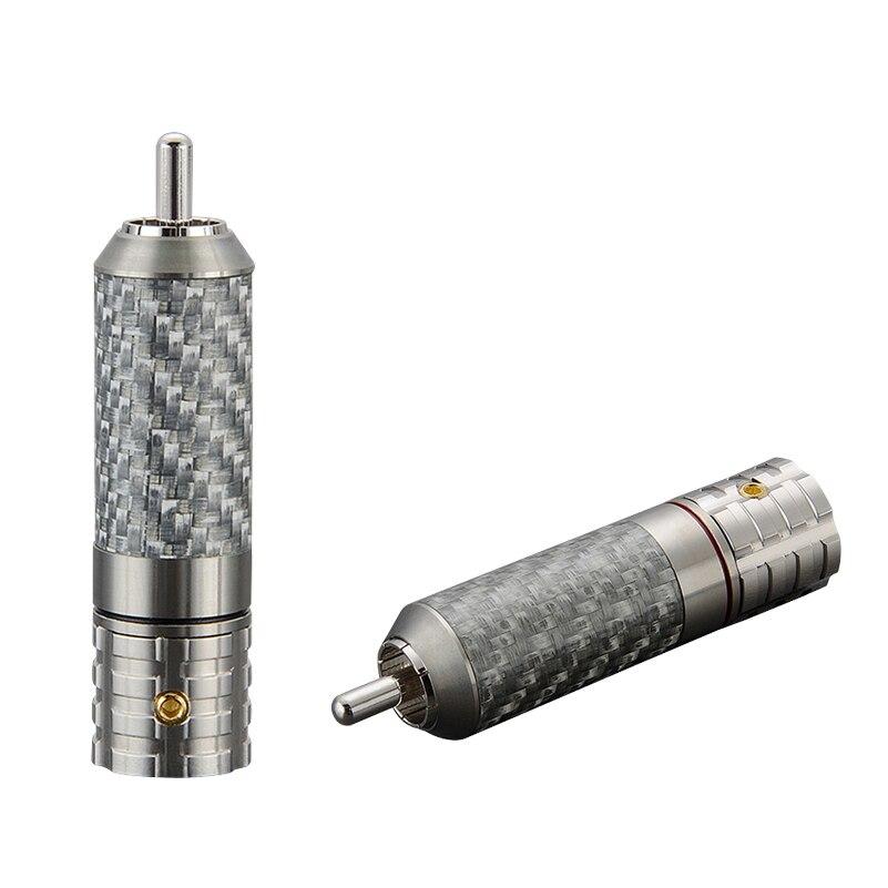فيبورغ 4 قطعة مرحبا نهاية VR108R ألياف الكربون النحاس النقي الروديوم مطلي RCA مكبر صوت أحادي الكربون سدادة RCA لكابل الصوت مرحبا نهاية