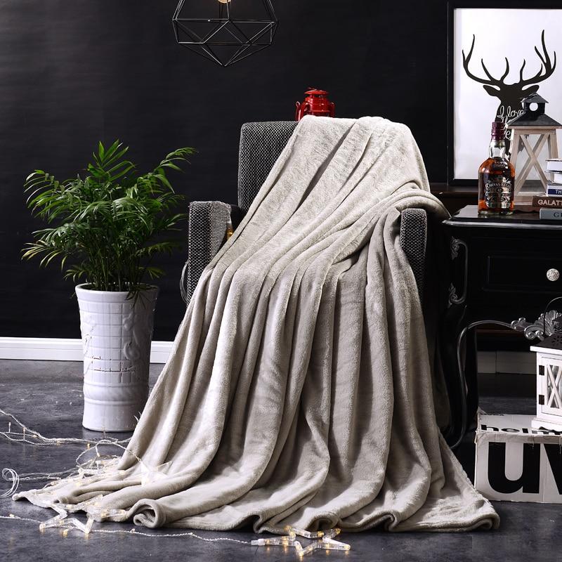 Manta de franela textil para el hogar, mantas blandas muy cálidas de invierno, manta para sofá/cama/avión, colcha sólida de retales de viaje, gris