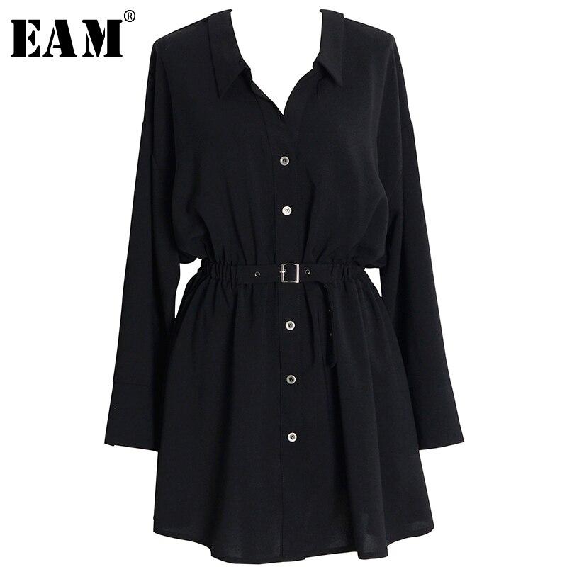 [EAM] femmes noir bouton fendu Joitn Bandge tempérament robe nouveau col en v à manches longues coupe ample mode printemps automn2020 1Y473