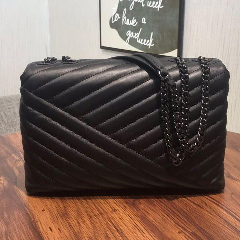 العلامة التجارية الفاخرة حقيبة المرأة الشهيرة مصمم حقائب اليد الكلاسيكية شرائط معدنية سلسلة الكتف حقيبة ساعي 100% حقائب جلد الماعز الحقيقي