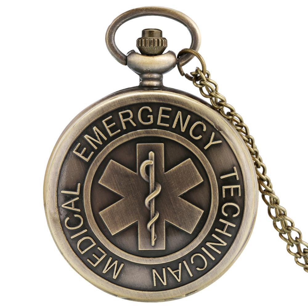 O símbolo do médico de emergência técnico fob relógio a estrela da vida relógio de bolso de quartzo colar pingente presentes para homens