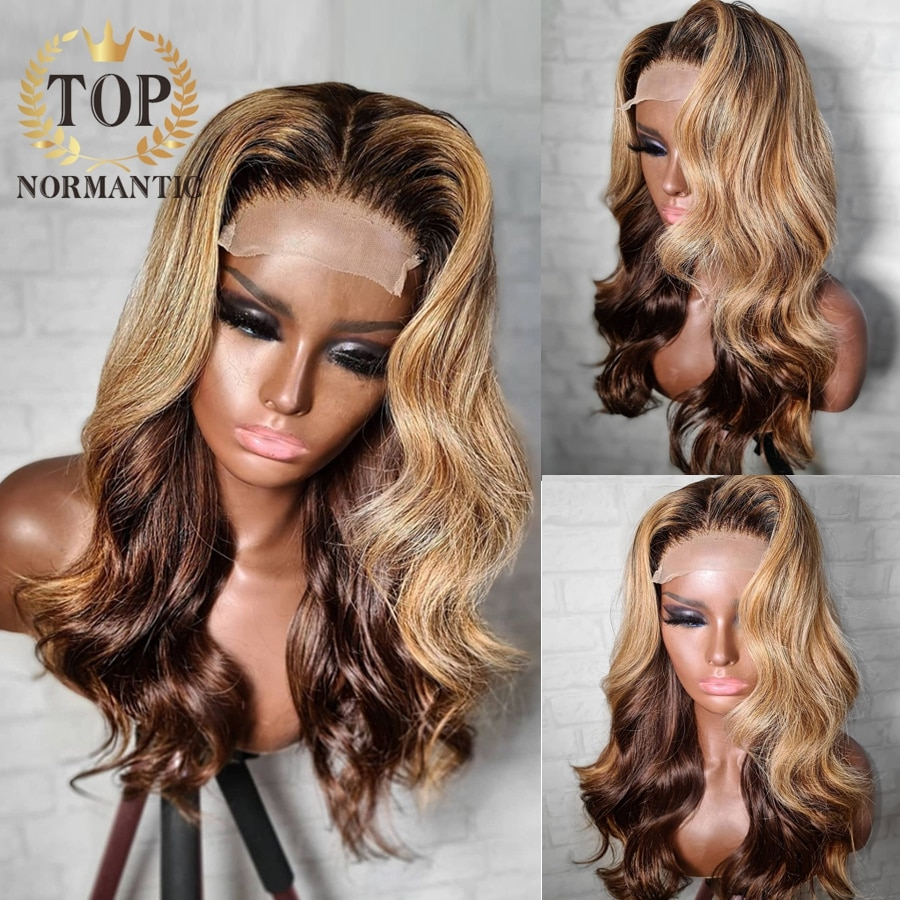 Topnormantic 13x6 peruca dianteira do laço para as mulheres destaque cor onda do corpo perucas cabelo humano remy brasileiro peruca preplucked