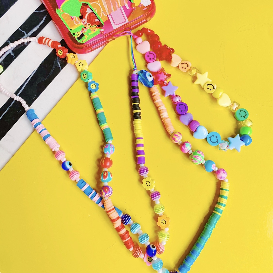 Colorful Soft Pottery Beaded Mobile Phone Chain for Women Candy Color Acrylic Star Heart Beads Phone Strap Jewelry Accessories
