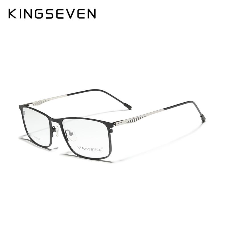 KINGSEVEN Titanium Alloy Optical Glasses Frame Men 2020 Square Custom Prescription Lenses 1.56 1.61