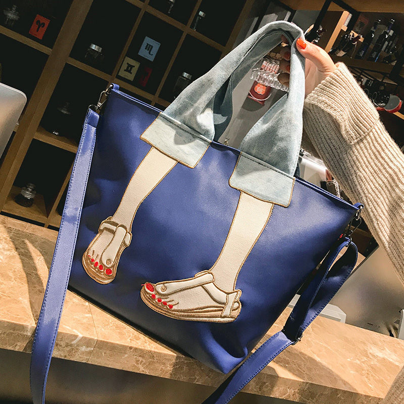 Large Capacity Fashion Brand Women Handbags 2021 Soft Nylon Female Tote Bags Cartoon Printing Shopping Shoulder Crossbody Bag