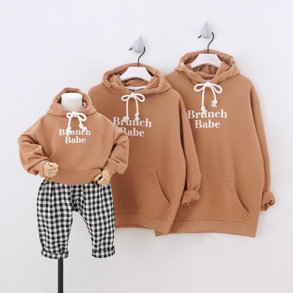 Dojhonkids hoodies família combinando roupas camisolas esportivas para uma família de três com capuz pai-filho roupas 2020 casal vestir