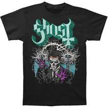 Camiseta para hombre fantasma B.C Nikola Tesla Papa Emérito de manga corta negra música camisetas de moda para hombres