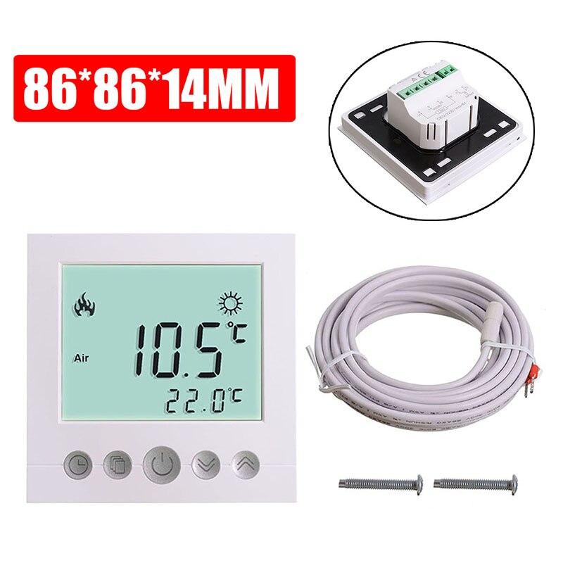 LCD شاشة تعمل باللمس غرفة متحكم في درجة الحرارة ترموستات أرضيات تدفئة كهربائية أنظمة التدفئة الأبيض
