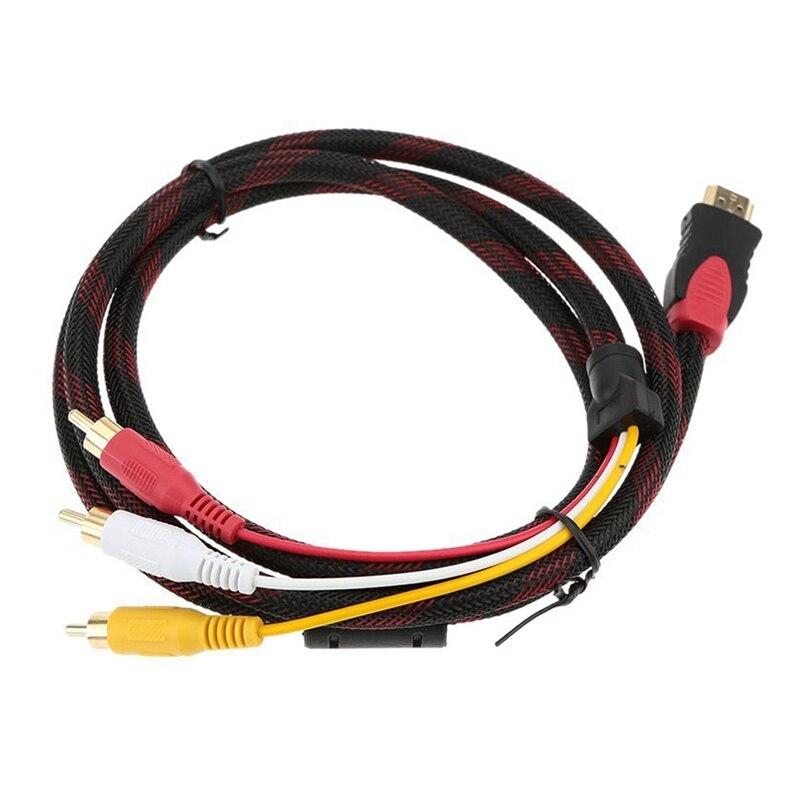 1,5 m / 5 pies chapado en oro 1080P HDMI macho a 3 RCA y o componente de vídeo HD adaptador/convertidor de vídeo Cable para HDTV NoteBook PC TV