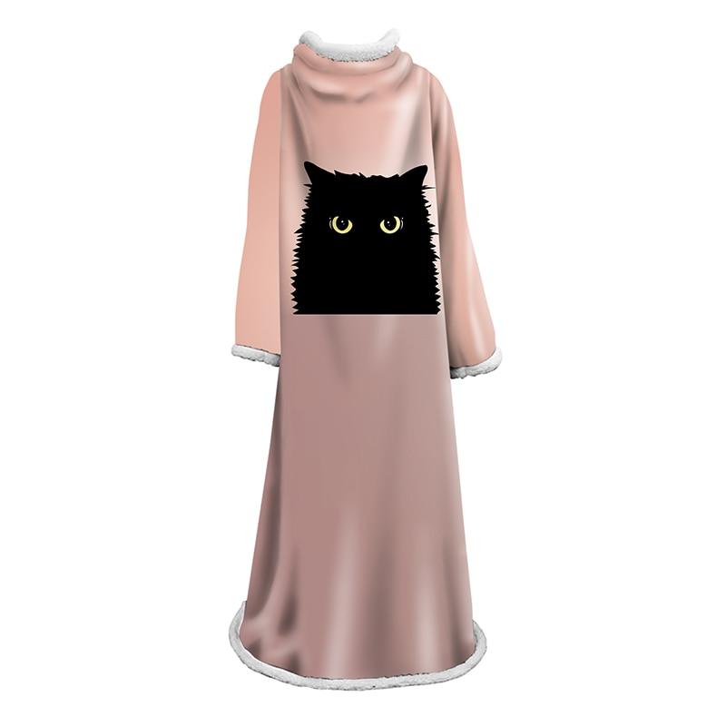 Manta de manga de gato Animal adorable cómoda manta suave cálida con manga gatos negros lindos burbujas manta violeta para adultos