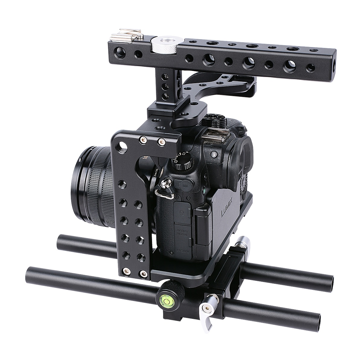 Yelangu C7 Camera Cage Metal Professional Camera Cages+Hand Grips Cold Shoes and Different Screw for Panasonic Lumix Gh5 Camera