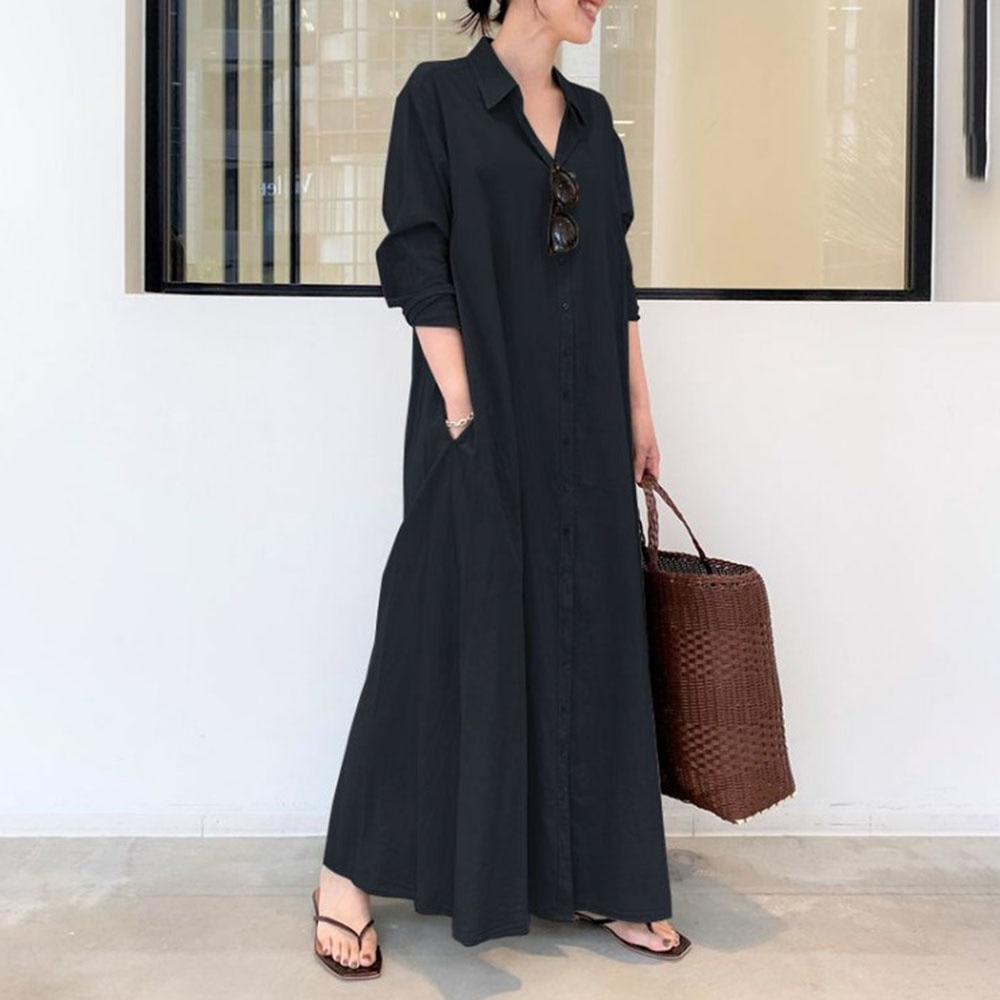New Fashion Women Leisure Dress Lapel Single-Breasted Shirt Long Dress Female Simple Street Wear Off
