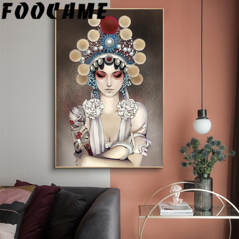 Cuadro sobre lienzo para pared con decoración de ópera de Pekín de estilo Drama chino, carteles e impresiones abstractas para sala de estar, fotos decorativas para el hogar