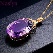 Taş Charm18k altın kaplama 36CT ametist renk Oval kristal kolye kolye bayan düğün takısı