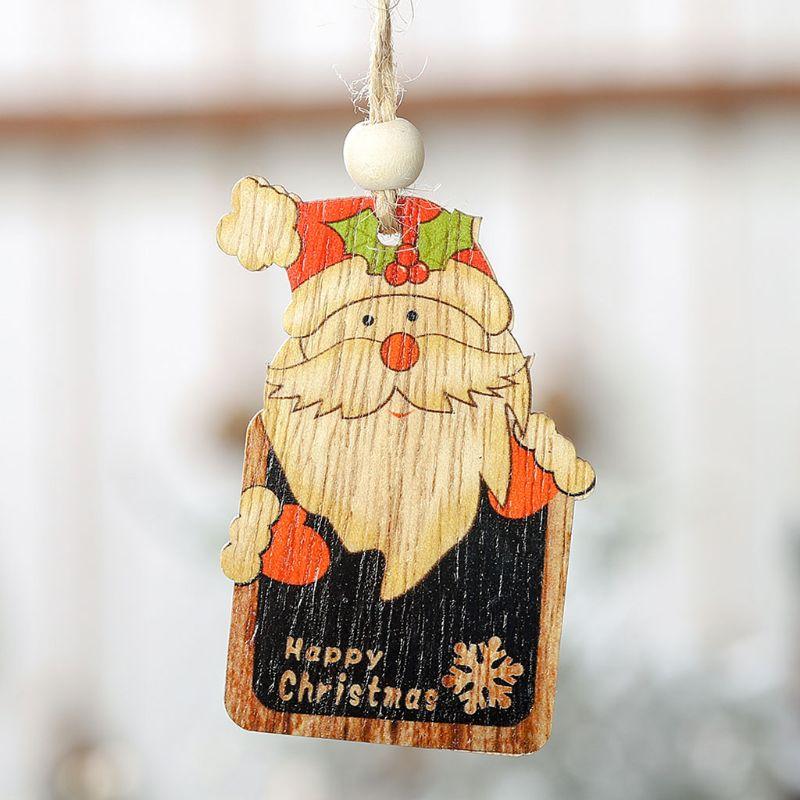 2 pçs de madeira mini quadro natal boneco de neve papai noel cervos pingente tag pendurado decoração do ano novo presente d08d