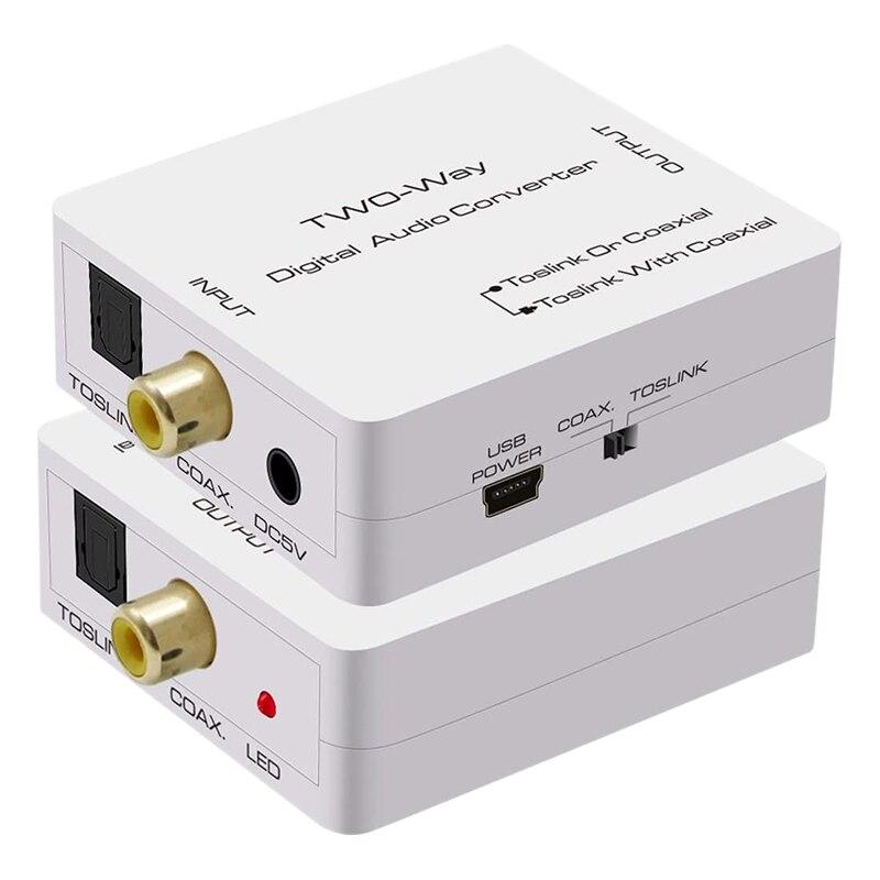 Adaptador divisor óptico a Coaxial bidireccional SPDIF Toslink a Coaxial Swtich Digital...
