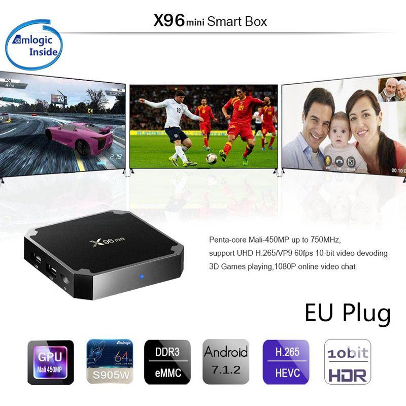 TV Box X96 Mini 4K, Android 7.1.2, reproductor multimedia con Internet, WiFi de 2,4 GHz, 16G, enchufe europeo