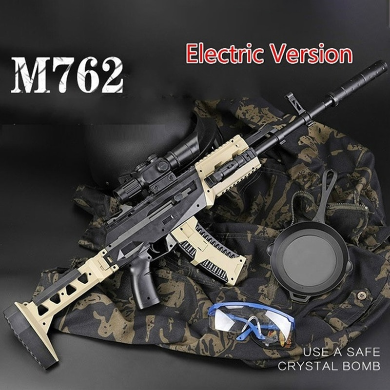 Airsoft armas de ar versão elétrica m762 rifle plástico seguro gel bola arma pistola água paintball bala arma garoto meninos presente