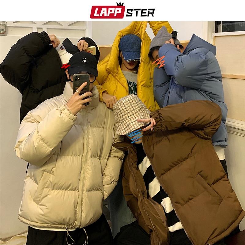 Bărbați harajuku colorat guler de iarnă geacă de iarnă - Imbracaminte barbati - Fotografie 2