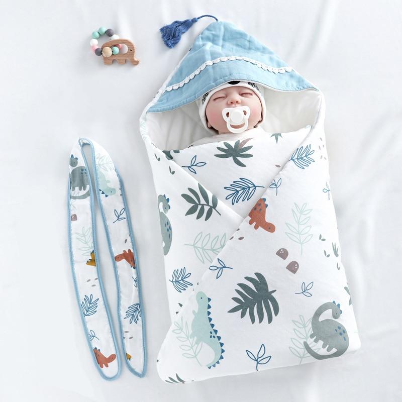 Cotton Quilt Baby Comforter Items For Newborns Kids Sleeping Bag Baby Swaddle Warm Cartoon Print Unisex Baby Quilt With Belt