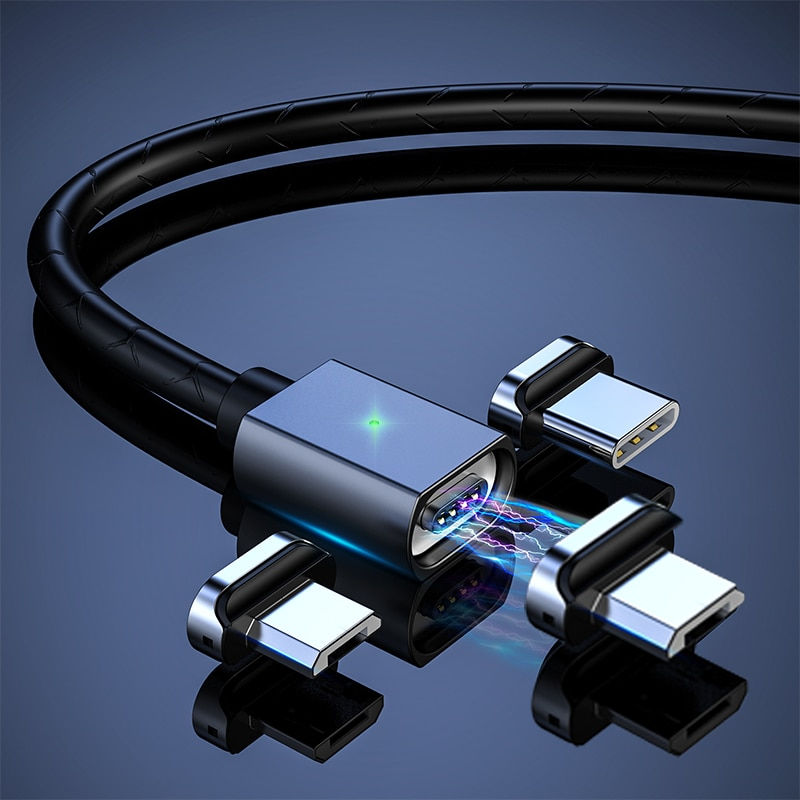 Cable de datos magnéticos QC4.0 3 en 1, imán de carga rápida, Micro USB y Cable de sincronización tipo C, Cables de teléfono, Cable cargador 3A