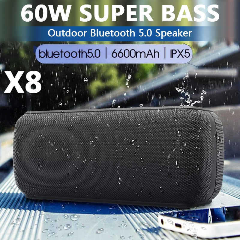 X8 60W المحمولة بلوتوث المتكلم عالية الطاقة للماء DSP باس العمود قوية عالية BoomBox في الهواء الطلق مركز الموسيقى مكبر الصوت نظام الصوت TWS مضخم صوت س...