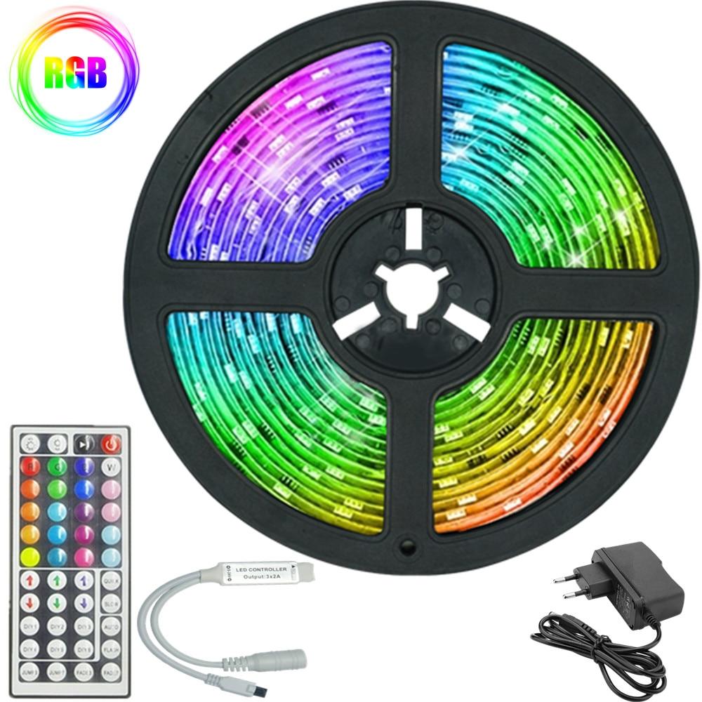 LED Strips Lights IR 2835 RGB No waterproof Lamp Tape Ribbon With Diode DC EU power supply 12V 10M 3