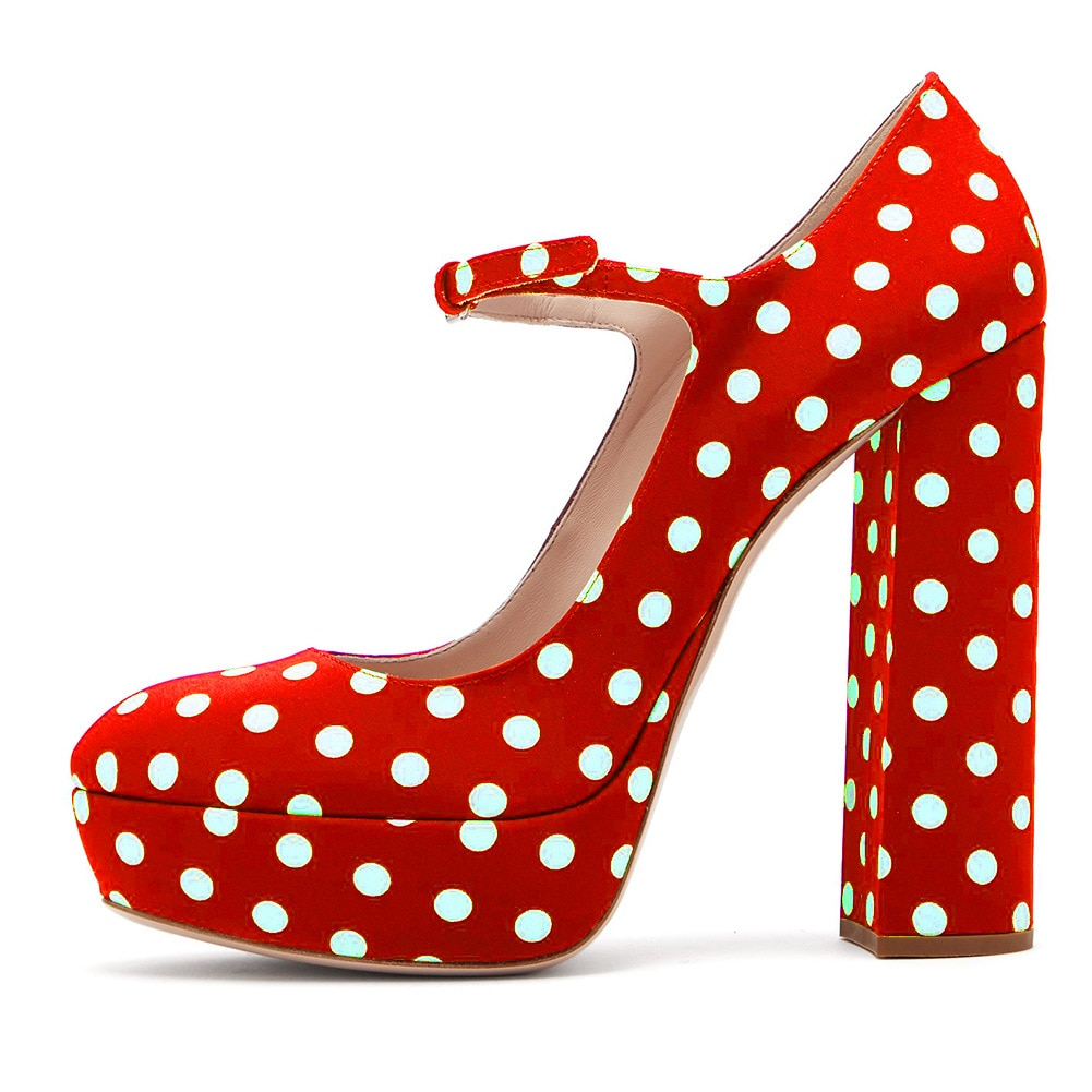 Mary Janes Shoes Woman Square Heel Patent Leather Round Toe Office Ol Classics Women's Pumps Polka Dot High Heels Sandals Shoes