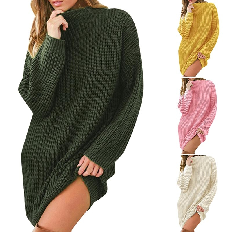 Womens Loose Long Sweater Dress Thick Knit Autumn Winter Casual Oversized Pullover dress for women