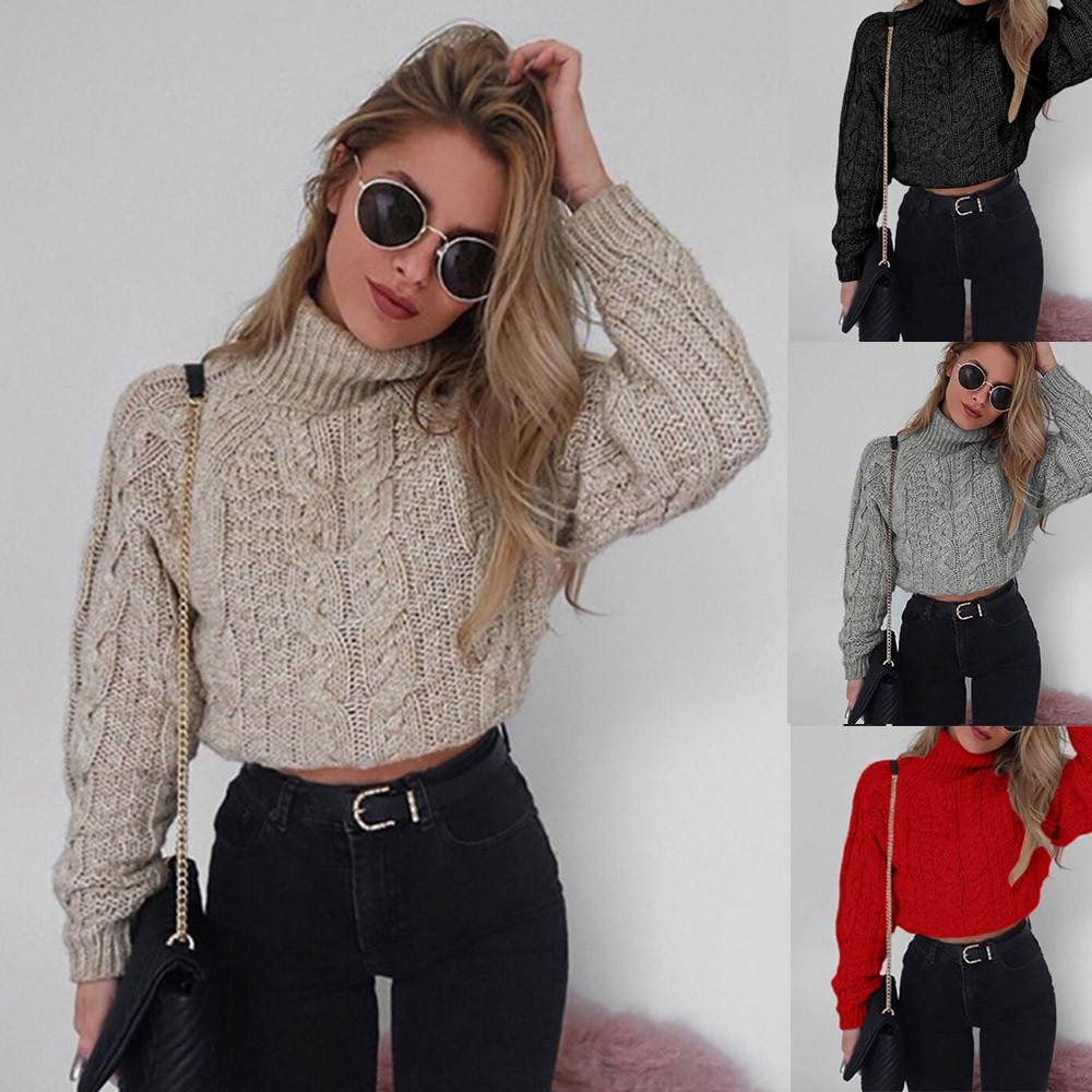 Women Casual Turtleneck Sweater Woman Winter худи 2020 Autumn Female Pullover sexy umbilical Casual Knitted Pullover Jumper