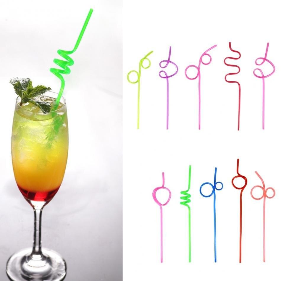10 шт. гибкие пластиковые гнущиеся, разные цвета, вечерние одноразовые питьевые соломки для детей на день рождения, свадьба, принадлежности для украшения, для мероприятий