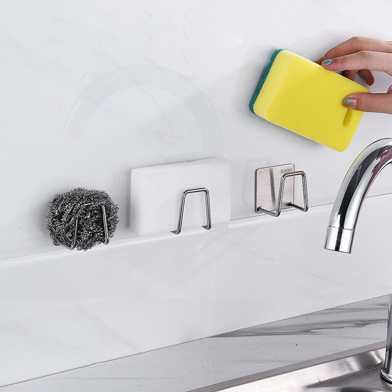 Kitchen Stainless Steel Sink Sponges Holder Self Adhesive Drain Drying Rack Kitchen Wall Hooks Storage Organizer Kitchen Gadgets