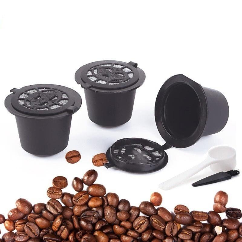 3 uds reutilizable Cápsula de café Nespresso recargable filtro de café. Con cuchara de plástico Cápsula de filtro para la línea Original Siccsaee filtros