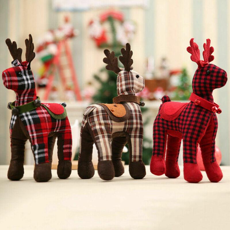 2019 decoración de Navidad Reno de peluche ciervo peludo adorno de fiesta de Navidad decoración de Navidad regalo de Navidad de Año Nuevo