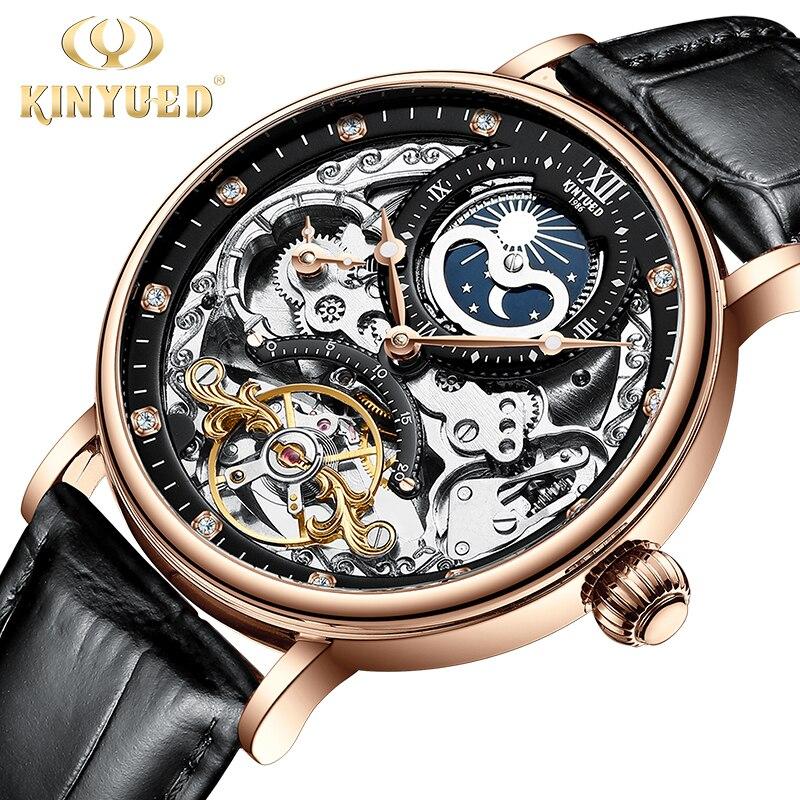 Custom logo Mechanical Automatic Watch Skeleton Watch for Men  Men Tourbillon Sport Clock Casual Business Moon Phase Wrist Watch enlarge