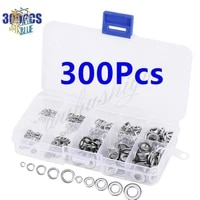 300pcsset stainless steel flat spring washers m2 m3 m4 m5 m6 flat washers assortment set fastener hardware with case
