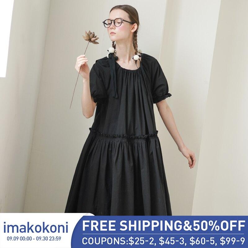 Imakokoni оригинальный дизайн японское летнее Новое свободное приталенное платье большого размера 192625