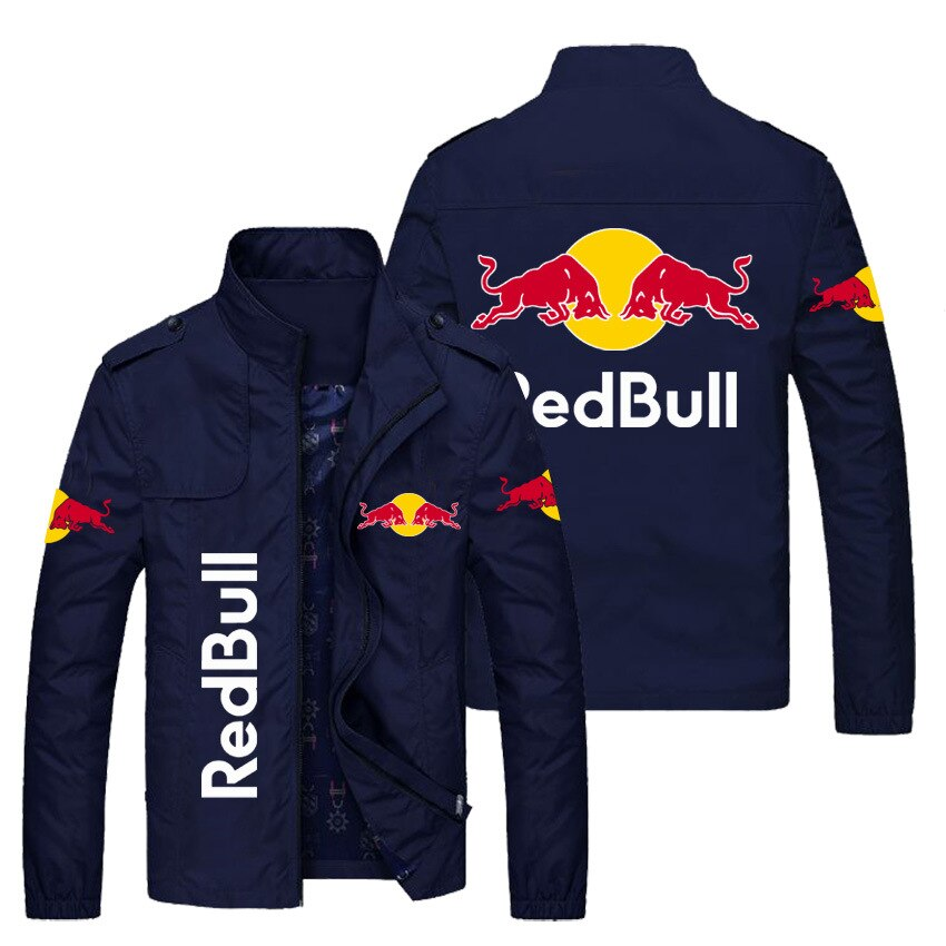 2021 New Red Bull Racing Car  Custom Stand Collar Side Seam Pockets Business Casual Youth Trendy Men