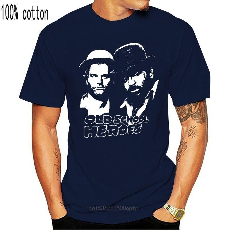 New 100% Cotton Summer Mens Summer Tops T-Shirt Schwarz Black Bud Spencer Terence Hill T-Shirt Hipster T Shirt