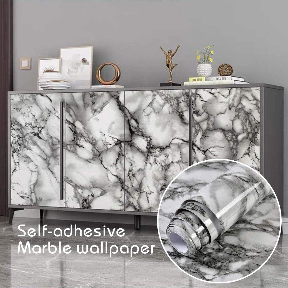Мраморные глянцевые самоклеящиеся обои для стен в рулонах, виниловая декоративная пленка для кухни, ванной, домашние настенные бумаги, Деко...