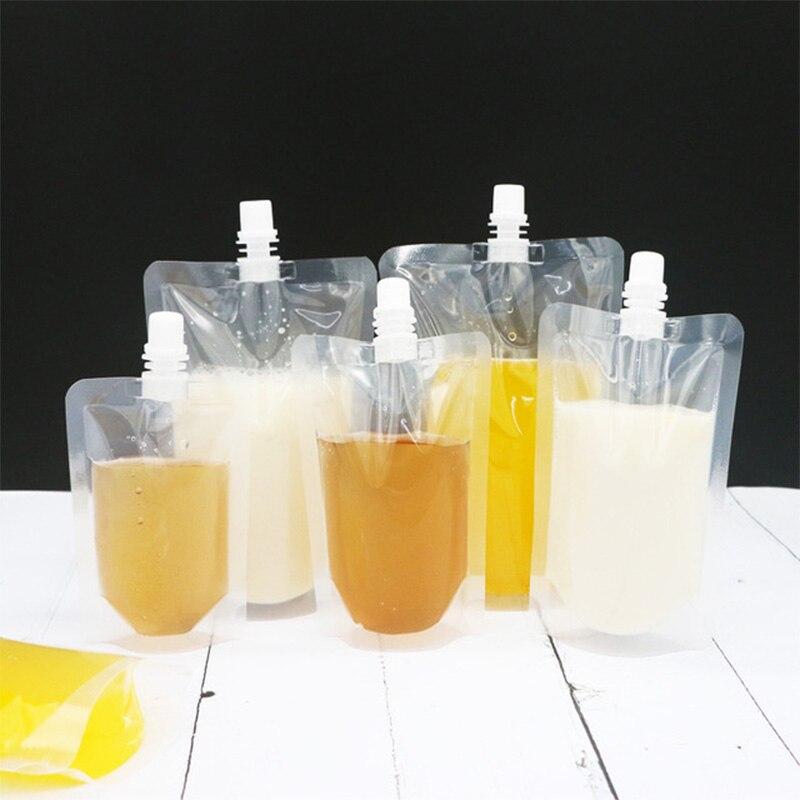 300 piezas claro de pie de beber de embalaje bolsa de pico Doypack beber líquido bolsas para bebidas de jugo de fruta de leche paquete bolsas