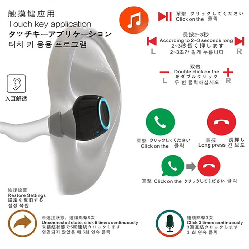 TWS Earphone Sports Waterproof Headphones Noise Cancelling Subwoofer Stereo Bluetooth 5.0 Headset Power Bank with Microphone enlarge