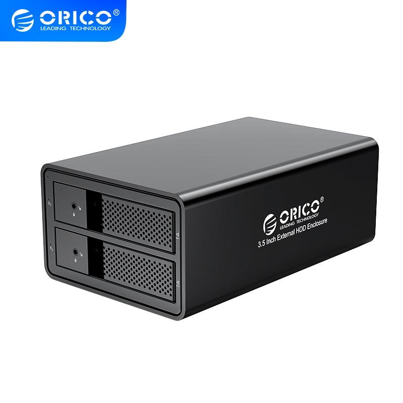 Док-станция ORICO 95 Series 2 Bay 3,5 SATA к USB 3,0 HDD, поддержка UASP 32 ТБ с вентилятором, адаптером питания 36 Вт, алюминиевый корпус для жесткого диска