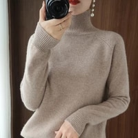 turtleneck cashmere sweater women winter jumpers knit female long sleeve thick loose pullover