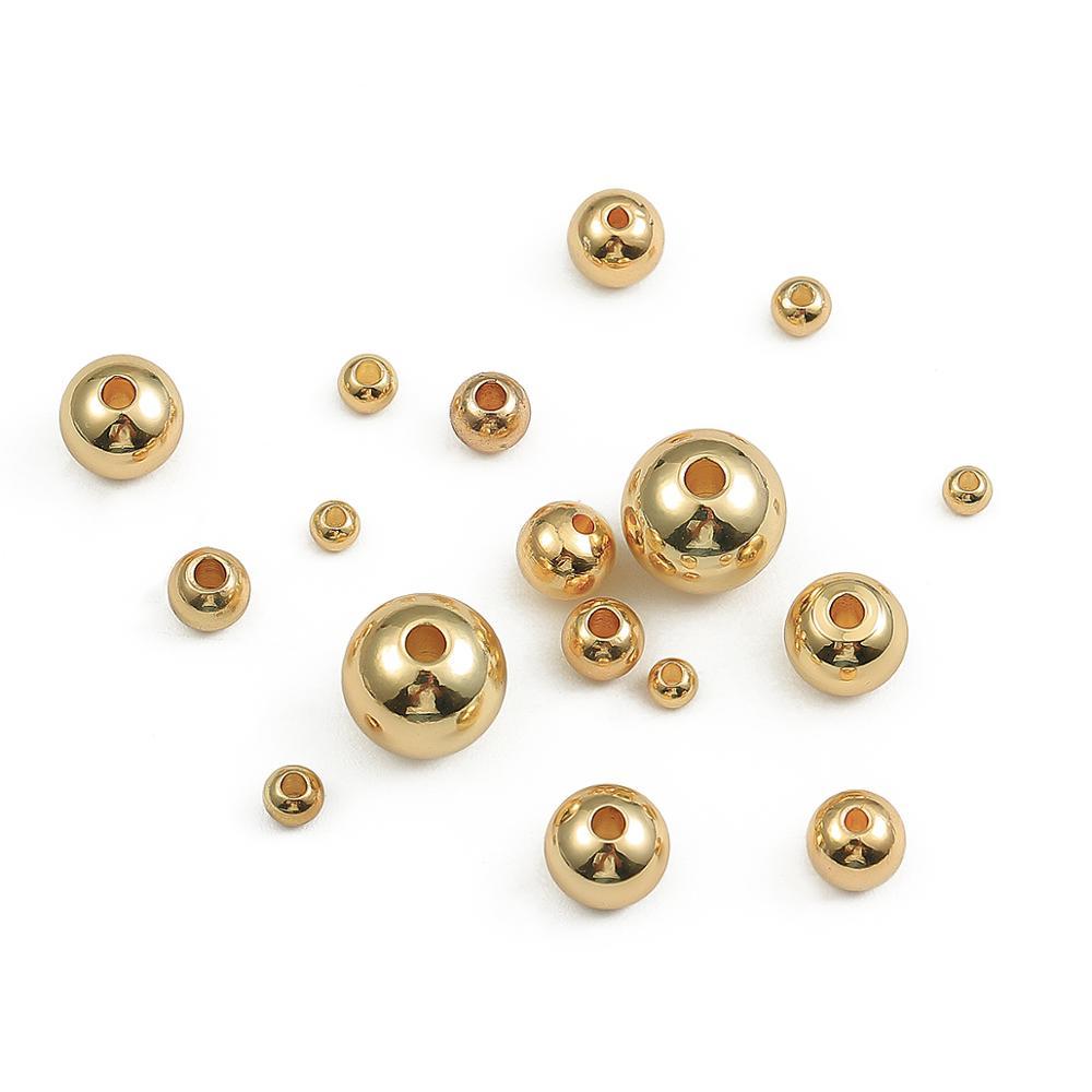 2,5, 3, 4, 5, 8mm, espaciador de abalorios redondos chapados en oro y cobre, abalorios metálicos de semillas para la fabricación de joyas, accesorios
