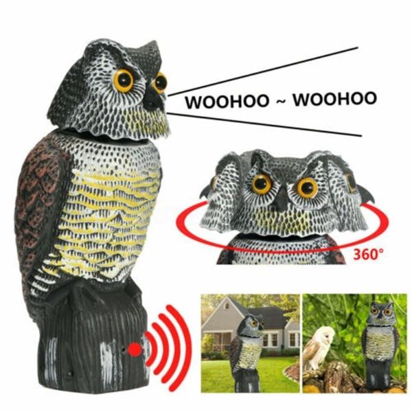 Reális madárriasztó hang bagoly forgó fejjel, szárnyvédő, rovarirtó kártevők elleni védekezés, madárijesztő kert és udvar számára