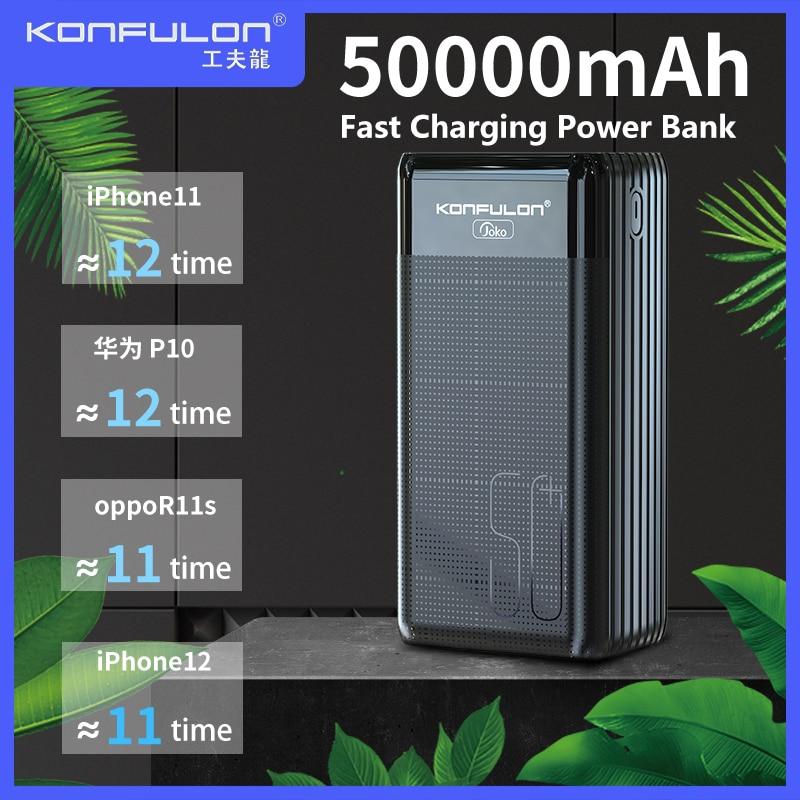 Banco de energía de 50000mAh, batería externa de carga rápida para iPhone Vivo, Samsung VOOC, 22,5 W, PD, 20W, pantalla LED, Banco de energía