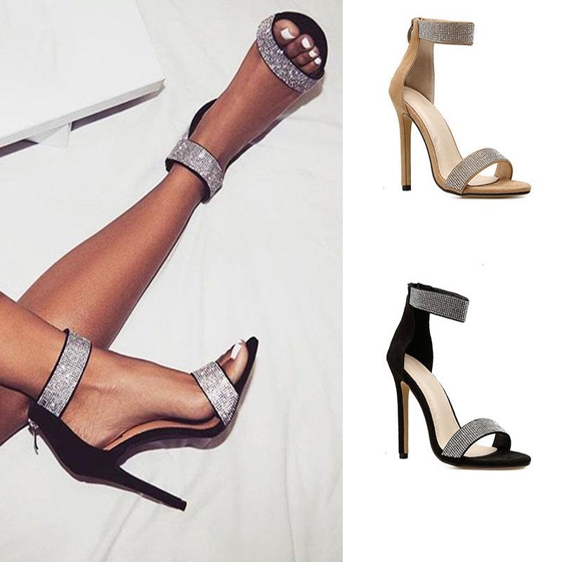 Zapatos mujer 2020 moda tacones finos Mujer bombas tobillo Sandalias Zapatos damas Boca de pescado tacones altos sexy vestido fiesta zapatos