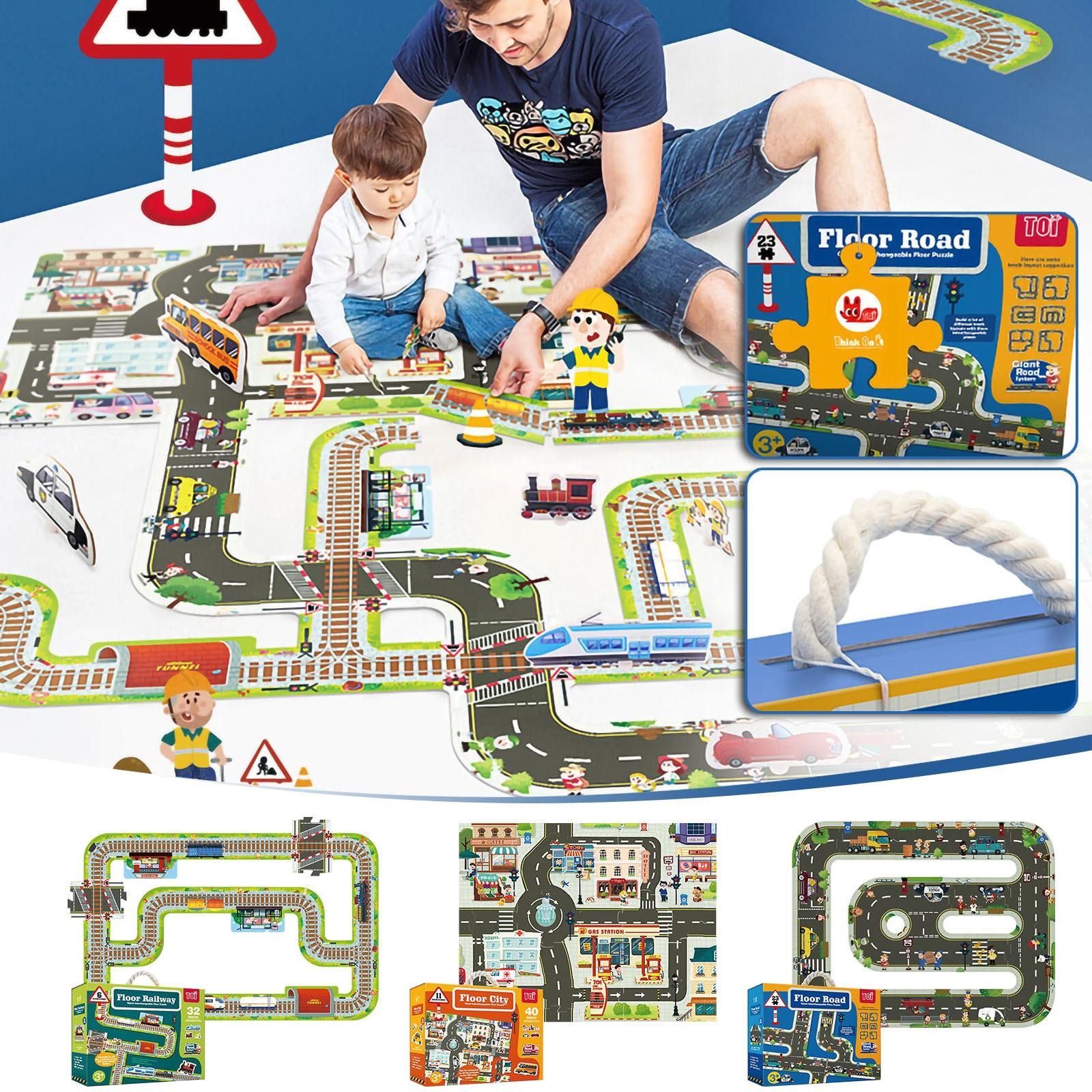 الأطفال المرور المسار قطعة كبيرة لغز الطفل تلعب لعبة قطار السيارة الطابق لغز المشهد مدينة التعليمية التعليم المبكر اللعب